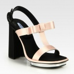 Prada Satin & Leather T-Strap Bow Sandals