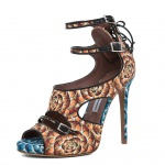 Tabitha Simmons Bailey Heel in Orange & Blue