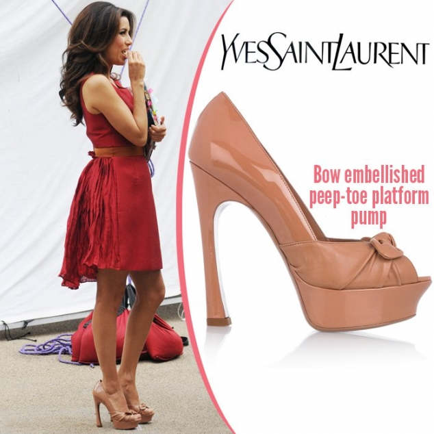 Η Eva Longoria με peep-toe Yves Saint Laurent